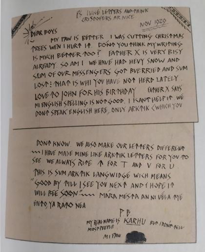 Lettre écrite par l'Ours Polaire